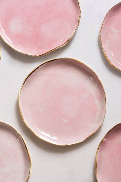 pink & gold watercolor ceramic plates from suite one studio