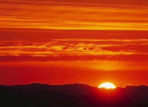 Poster Mountain Sunset Orange Yellow Beautiful Landscape