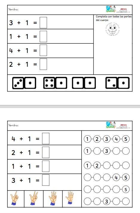 Segundo bloque de 5 fichas para trabajar la iniciación a la suma con ayuda visual, en este caso trabajar las cantidades + 1 con números menores del 5. Para ver el bloque 1 CUADERNO DE INICIACIÓN A LA SUMA BLOQUE 1 Relacionado