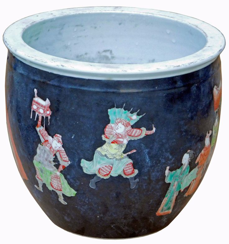 """This is a hand painted porcelain pot / planter with oriental people scenery theme. Dimensions: Dia 10.25 x h9"""" ( Opening dia 8.5"""" ) Origin: China Material: Porcelain Condition: Reproduction, hand made"""