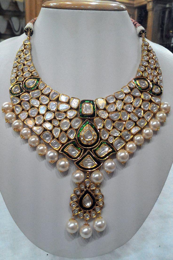 Glittering green meena-diamond polki necklace | Kundan Meena Jewelry | Vilandi Jewelry | Diamond polki jewelry | Bridal sets | Traditional Indian Jewelry | Wedding Jewelry