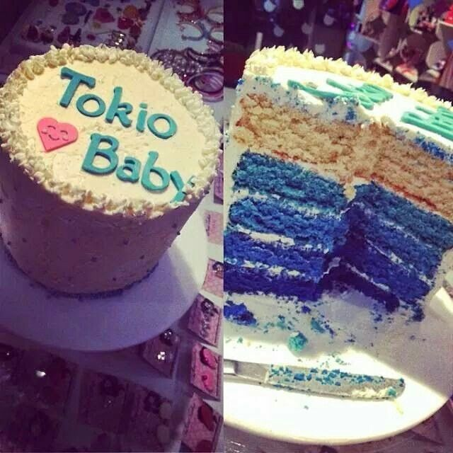 Beautiful #blue #ombre #cake to reveal the gender of our dearest #tokiobaby :)