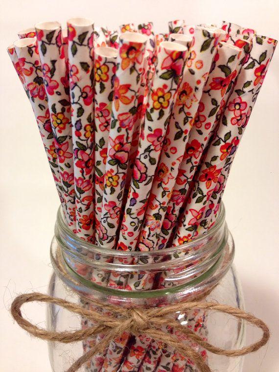 25  pailles en papier Fleurs floral // bonbons buffet de desserts tableau // mariage // millésime // décoration de thé // nouvel an