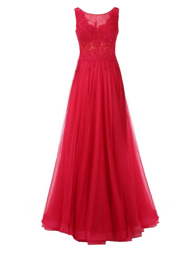 Lange jurk in tule met borduursel op de buste -   100% polyester  Enkel droogkuis  Geen alcoholhoudende producten verstuiven op de jurk