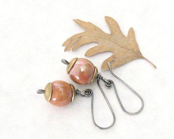 terracotta penzolare orecchini orecchini in ottone di theBeadAerie