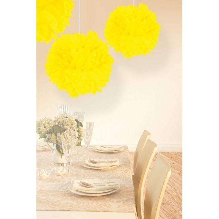 Decoratie pompom neon geel bij Fun en Feest Belgiė