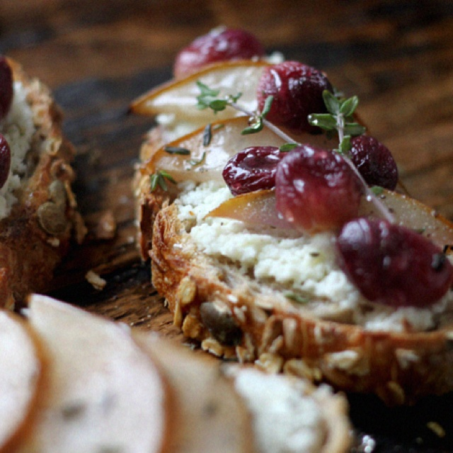 Home made Goat's Milk Ricotta with Roasted fruit on toast...  http://mynewroots.blogspot.com/2012/02/homemade-goats-milk-ricotta-on-toast.html