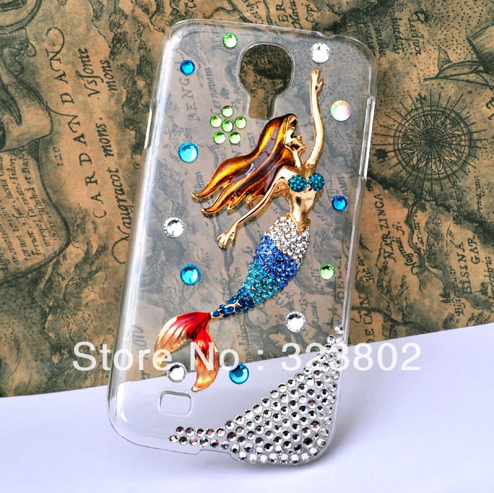 Aliexpress.com : Buy Handmade Bling Rhinestone Hard Clear Transparent Case Cover For Samsung GALAXY S4 or IV i9500 with Alloy Blue Mermaid from Reliable case for GALAXY s 4 suppliers on Cell Phone Case Rhinestone Button Bead Resin Craft Alloy Jewelry $11.60