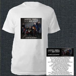 Jason Isbell and the 400 Unit winter tour dates jan-feb 2018 white tees; Material 100% cotton, Basic style; Short sleeve;