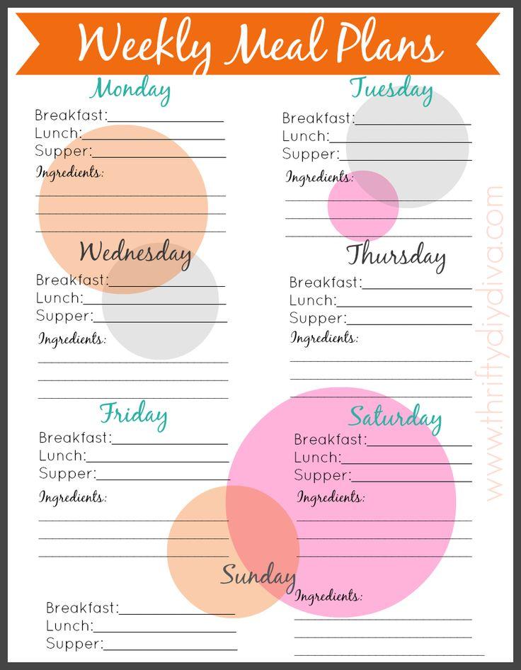 menu planner template free printable
