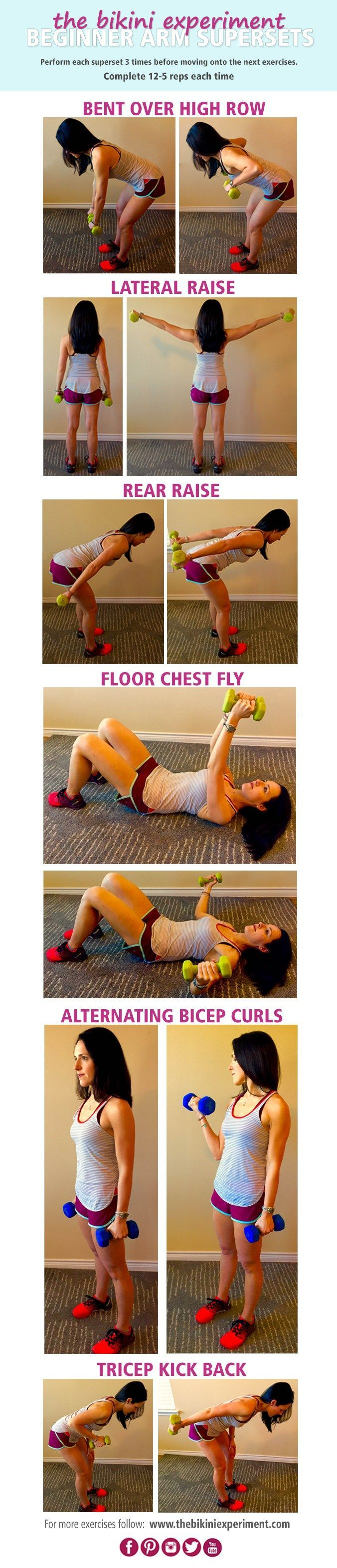 Basic Arm Supersets! Follow along for basic arm supersets designed for toned and lean arms. Grab a pair of dumbbells for this quick and effective workout. | Click for more workouts to get lean and strong.