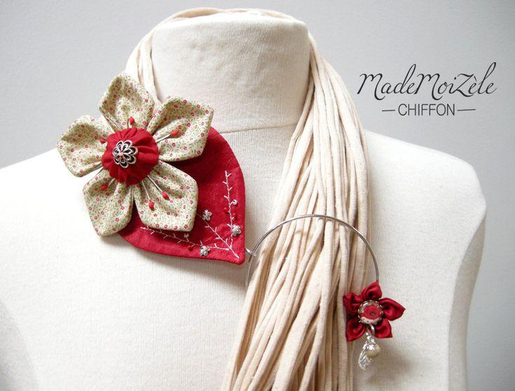 foulard echarpe collier bijou tissu fleur tissus beige, écru, rouge, bordeaux, liberty, vert : Echarpe, foulard, cravate par mademoizele-chiffon