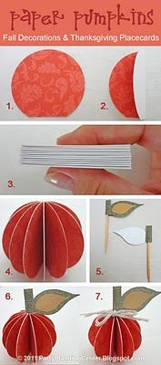 Paper Thanksgiving pumpkin decorations and place card tutorial