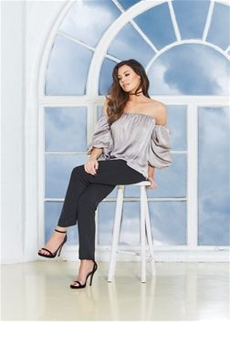 Jessica Wright Tali Grey Bardot Top  £38.00 Try out this silver bardot top with a frill sleeve finish. This romantic silky blouse will work perfectly tucked into a leather look mini, accessorized with a velvet choker and heeled booties. Date night goals.   Colour: Grey