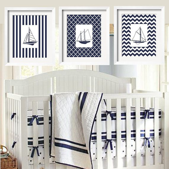 Sailboats Modern Nautical Prints in Navy and White 11x14 - 3 pc
