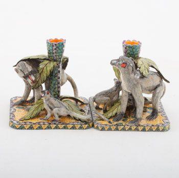 Ardmore Ceramics Monkey Candlestick Pair