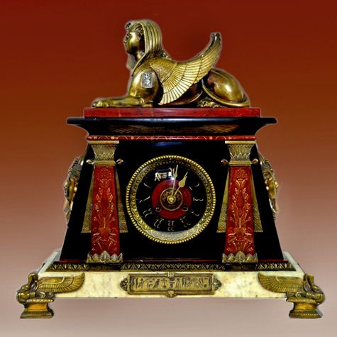 French Antique Egyptian Revival Mantle Clock Made Of