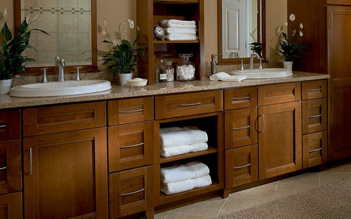 Open shelves create space in this bathroom for displaying/storing ...