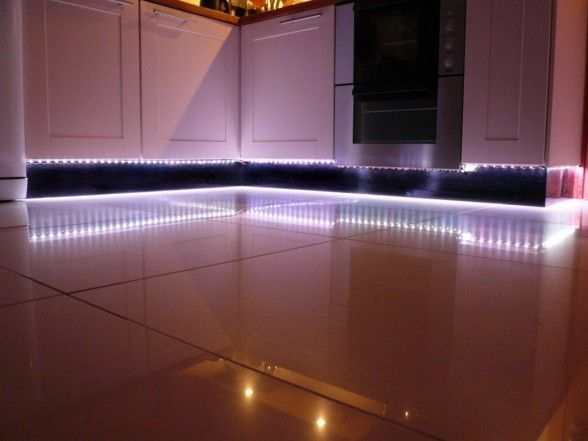 Cool White LED Strip Lights Look Amazing As Plinth Lights In The Kitchen.  Repined By