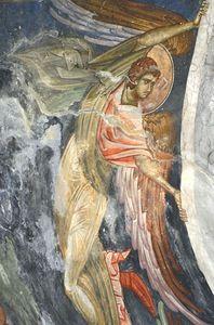 Ангел. Фрагмент фрески Вознесение Господне. Купол церкви Св. Димитрия в Пече