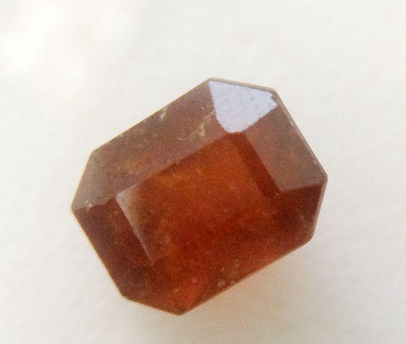 1 Pc 7x9mm Hessonite Garnet Faceted Emerald Cut by gemsforjewels