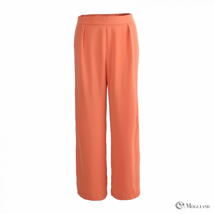 Ladies orange straight leg cropped trousers with split side seams for wholesale - clothing/bottoms/trousers | Moguland.com - Wholesale Women's Clothing