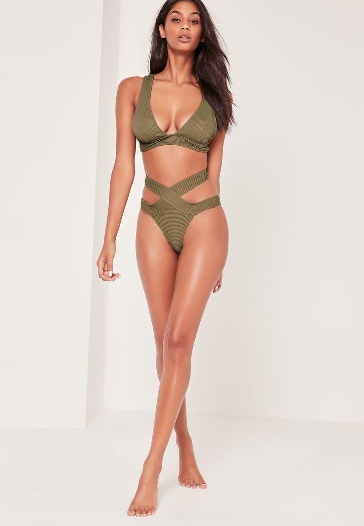 Missguided - Textured High Waisted Bikini Set Khaki