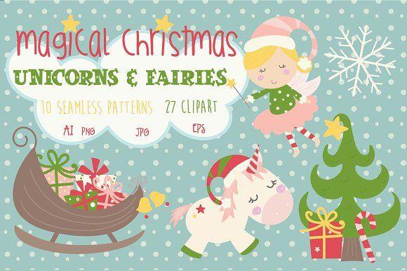 Christmas unicorns and fairies by Poppymoondesign on @creativemarket