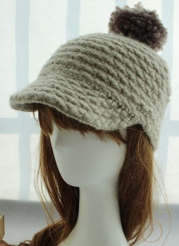 Fluffy Ball Embellished Solid Color Knit Cap – teeteecee - fashion in style