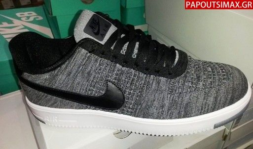 Nike Air-Force 1 Flyknit Low Grey-Black