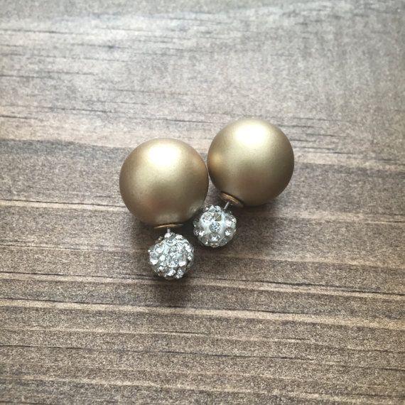 Gold double sided earrings - cute