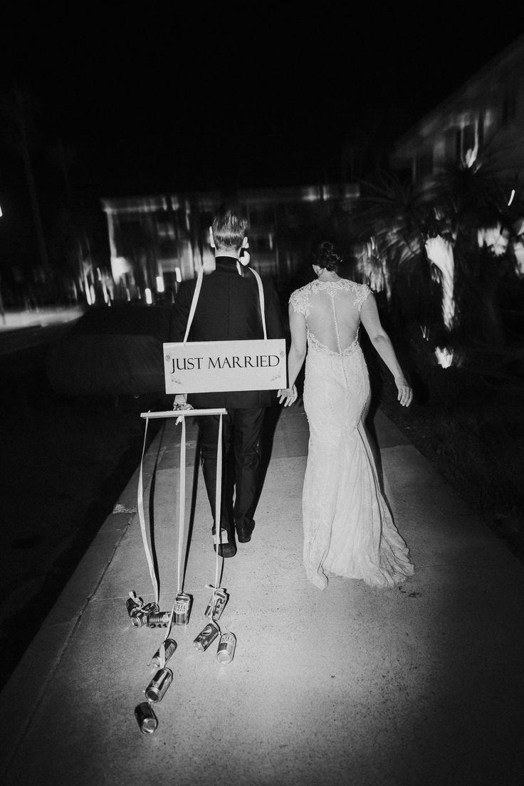 "Bride and groom ""Just Married"" exit; Darlington House wedding La Jolla California; PHOTOGRAPHY Joel + Justyna Bedford;"