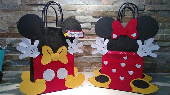 Juego Mickey y Minnie Mouse bolsas de chuchería de 12
