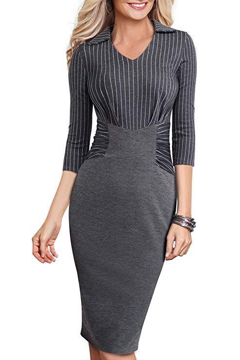 Mmondschein Womens Retro Elegant V Neck Bodycon Business Work Midi Pencil Dress