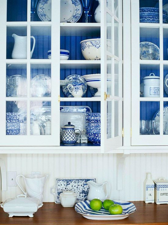 Bright BlueIdeas, Blue Interiors, Beads Boards, China Cabinets, Colors, White Dishes, Kitchens Cabinets, White Cabinets, White Kitchens
