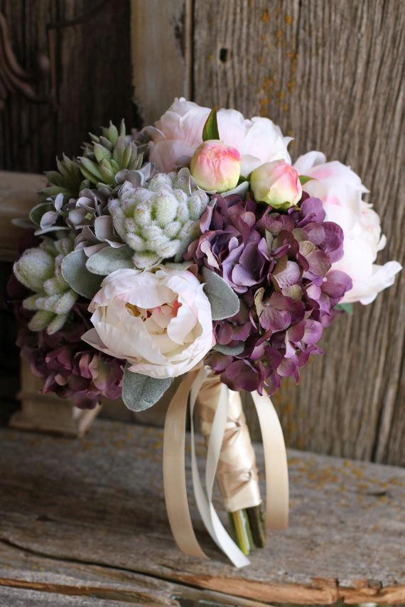 Blush Peonies, Burgundy Hydrangea, Succulents Silk Wedding Bouquet #weddingflowerbouquets
