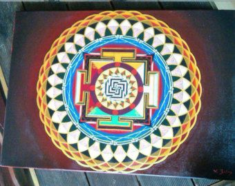 Hand Painted Gold Mandala Acrylic on Canvas por JenniferAnnFineArt