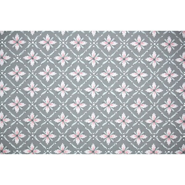 1940s Vintage Wallpaper by the Yard Pink and Gray Geometric with... (130 NOK) ❤ liked on Polyvore featuring home, home decor, wallpaper, vintage home decor, grey home decor, gray home decor, gray wallpaper and geometric home decor