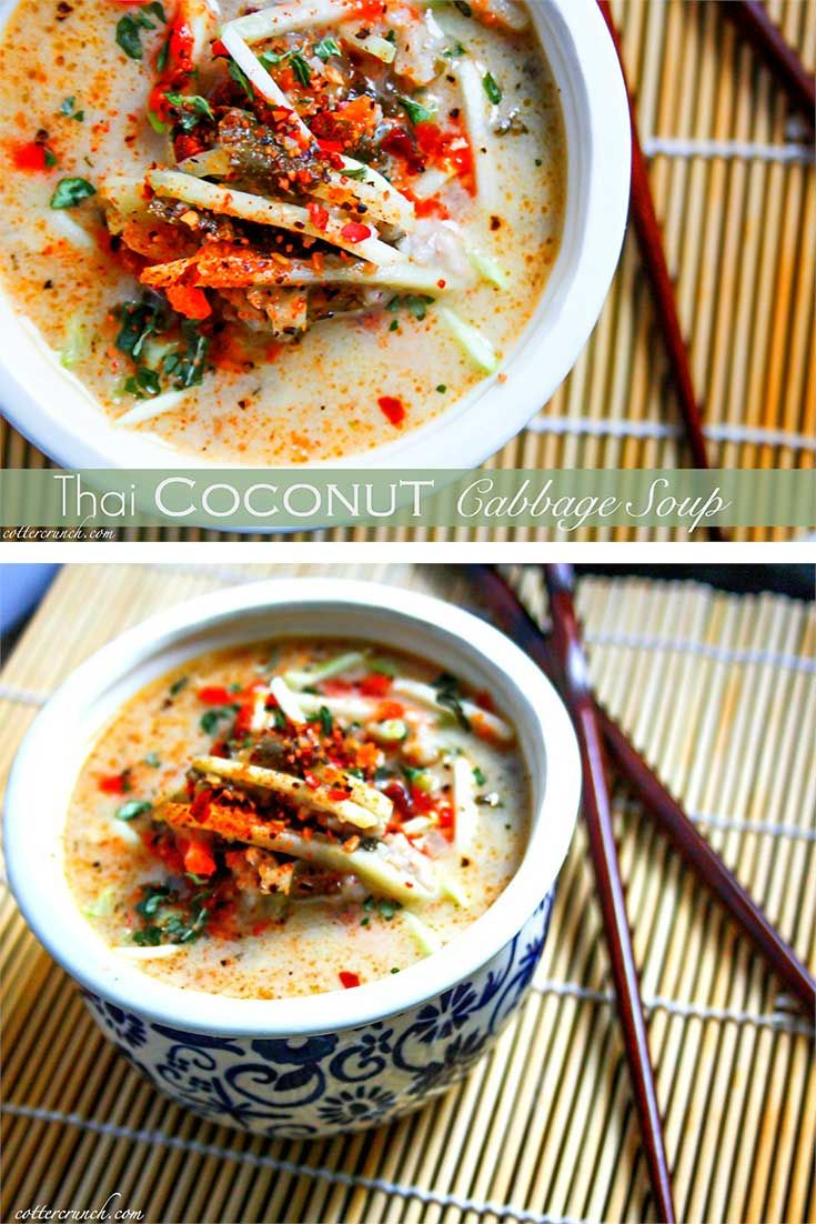 Tasty Thai Coconut and cabbage soup! Made with simple ingredients, delicious and paleo/vegan friendly. -