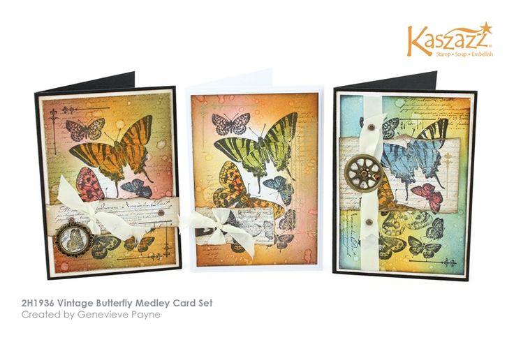 2H1936 Vintage Butterfly Medley Card Set