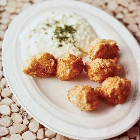 Salt Cod Fritters with Garlicky Skordalia