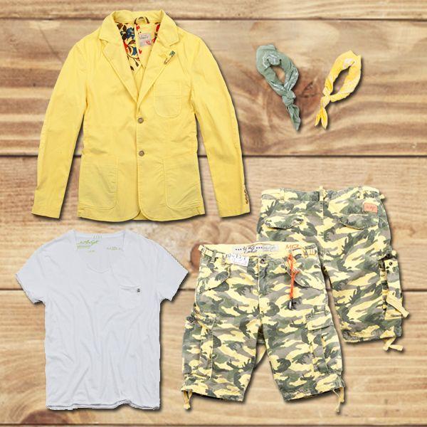 Be yellow, be Fashion , Be 40WEFT #40weft #SS2014 #bandanas #bermuda #Jacket #menfashion #goyellow #look #outfit #follow #repin