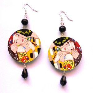orecchini in legno dipinti a mano il bacio Klimt 2