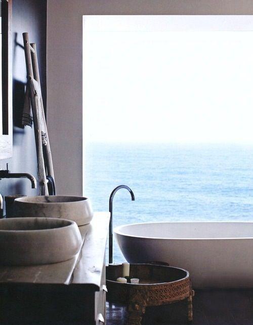 apaiser marble bath. ocean views. Basins from Indigo Tile Design. timber ladder. organic simplicity.