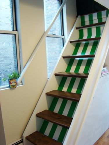 Striped staircase.Narrow Stairs, Fun Painting, Loft Stairs, Attic Stairs, Painting Stairs, Painting Job, Green Stripes, Painting Ideas, Fun Stripes