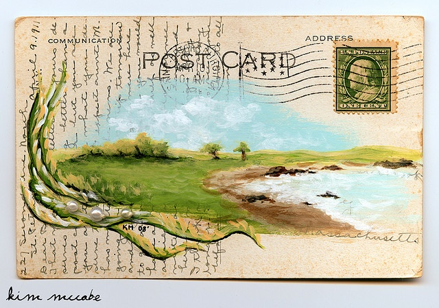 Find old postcards at flea markets, antique shops or even thrift stores then paint!
