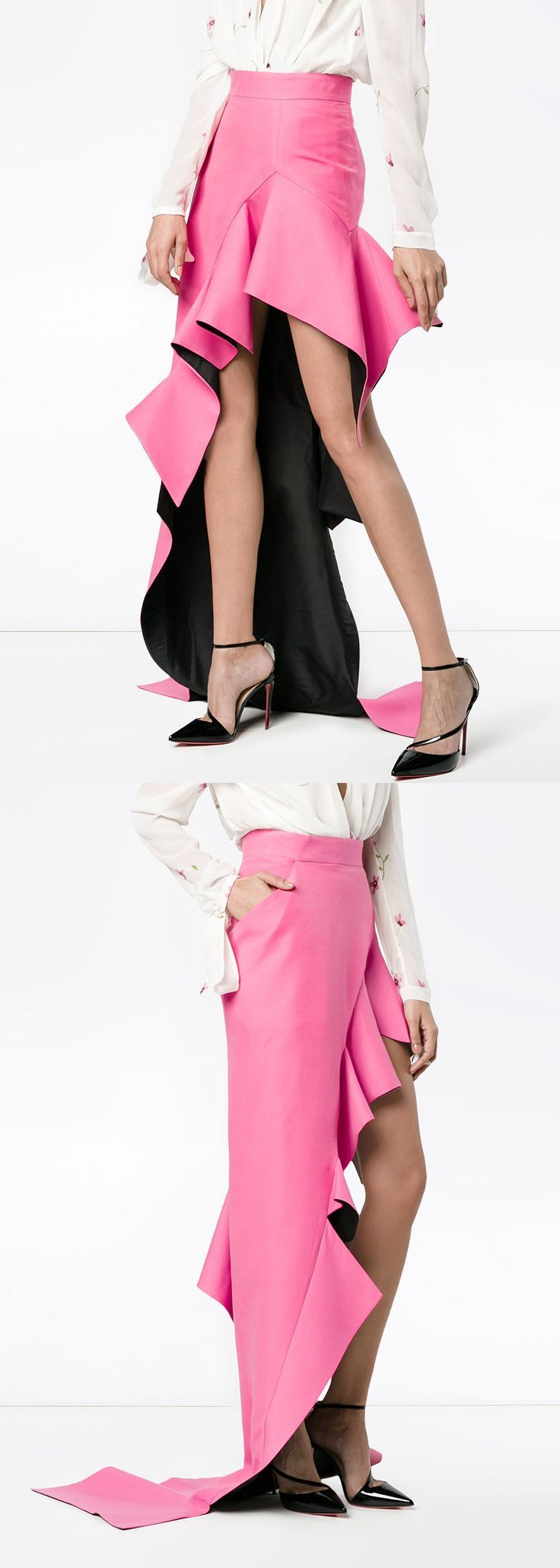 Ronald Van Der Kemp high waisted ruffle asymmetric skirt. Simply the most amazing pink skirt i've found this month. The perfect pink, with ruffles and asymmetric style - how on point. Colour pop it or wear with a pastel top for Race day fashion. Outfit inspiration. #fashionsonthefield #racingfashion #fotf #wearpink #thinkpink #frocktober #affiliatelink #outfitinspiration.