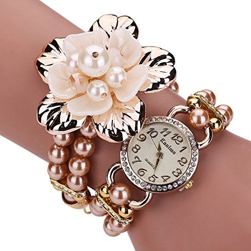 Pretty Women Winding Wrap Wrist Watch Elegant Faux Pearl and Flower Rhinestone Charm Bracelet Watch Gold >>> Want to know more on the watch, click on the image.