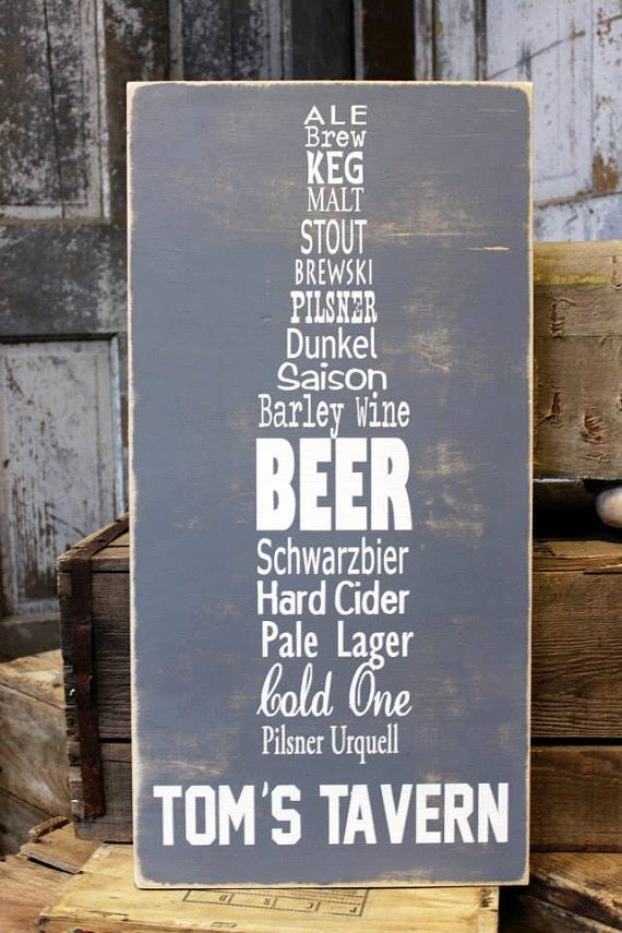 Man Cave Beer Signs : Personalized man cave sign on canvas or wood beer