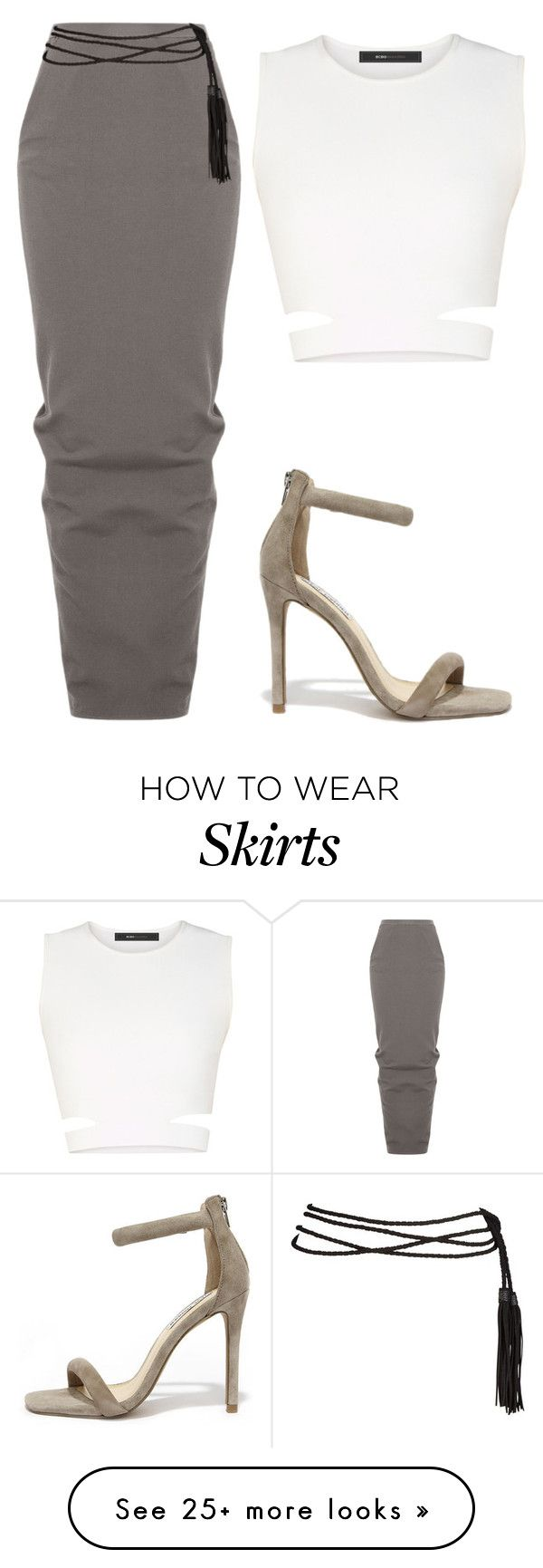 """Pencil maxi skirt x sandals x crop top x rope belt tide tight"" by le-lola on Polyvore featuring Rick Owens, BCBGMAXAZRIA, Steve Madden, women's clothing, women's fashion, women, female, woman, misses and juniors"